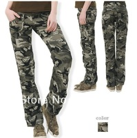 Free shipping 2013 woman Camouflage pants summer overalls cargo Military pants casual loose straight trousers