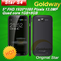"free shipping Star S4 MTK6589 Quad Core Android 4.2 mobile phone 5""  FHD 1920x1080px 1GB RAM 8GB ROM 13mp camera"