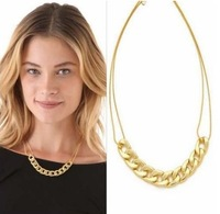 Min. order $15(Mix color)Sale 2013 Fashion Jewelry Items Punk Style Simple Elegant Bone Gold Plated Chain Necklace For Women!J C