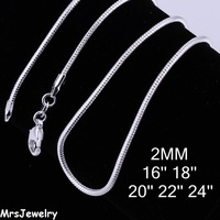 925 Chain - MJC010 / 16' 18' 20' 22' 24' inchs 2mm Snake chain Necklaces 925 Sterling silver chain for men Free shipping