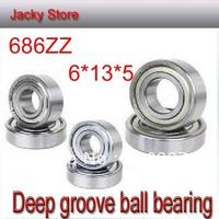 Free Shipping 20pcs /Lot For Deep Groove Ball Bearing 686ZZ 6x13x5 Shielded Miniature Ball Bearings 6mm*13mm*5mm