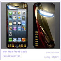 50pcs/lot Newly LCD Screen Protector Cover Film For iPhone5;Iron Man Front & Back LCD Screen Protective Film Wholesale & Retail