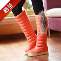 Women's shoes snow boots fashion platform boots leather luxury high-leg cape hare fur boots leather cotton boots  FREE SHIPPING
