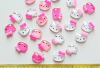 Free Shipping 100Pcs Kawaii Hello Kitty Cabochons Flatback 15mm Shiny Scrapbook