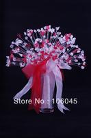 HK Post Free shipping 2013 acrylic crystal girl flower wedding bouquet bridal love heart teardrop stunning bead artificial