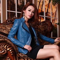 new professional women's leather jacket motorcycle jacket winter and autumn slim OL temperament long-sleeved coat short design