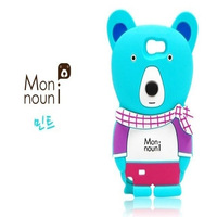 Free Shipping Scarf Bear Case Korea Monouni Case For iPhone 4  Silicone Phone Case  Cartoon Bear Protective Sleeve