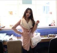 warm jacket coats women pink color and beautiful belt and fur collar hot