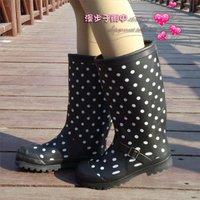Black polka dot tall boots water shoes rain shoes rubber shoes rubber rainboots x40
