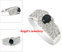 EMS Free Shipping, Natrual Sapphire ring with 925 silver plated 18k white gold, luxury ring with gemstone
