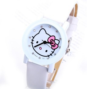 Free shipping lovely white leather hello kitty watch fashion  A0449