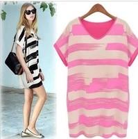 Personalized one-piece dress summer color block stripe slim plus size loose basic skirt chiffon one-piece dress female