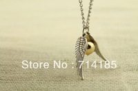 20pcs/lot The Golden Snitch Harry Potter Necklace personality girl in silver Tone