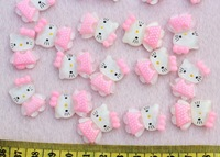 50Pcs Resin Cute Pink Hello Kitty Kawaii Cabochons Flatback Scrapbook 28x18mm
