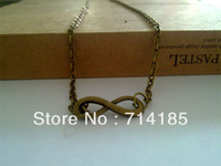 Necklace infinity sign charm connector digital 8 Vintage Bronze Tone Jewelry 20""