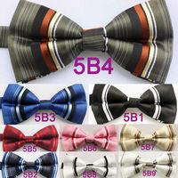 Yibei Coachella Ties Microfiber Fashion Stripes Adjustable Men's Bowties Adults Tuxedo Bow tie Unisex butterflys Pre-Tied