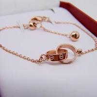 Fashion love double- buckle bracelet 14k rose gold titanium hand  anklets pear vivi