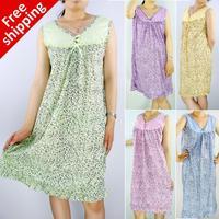 Free Shipping 2014 nighty Summer sexy Fashionable Dye Printing Big size 5xl women's cotton nightgown/ summer lady sleepwear