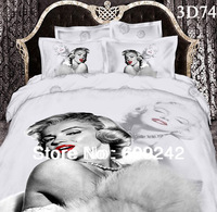 Free shipping,Marilyn Monroe bedclothes 100% cotton printed 4pcs 3d bedding set bedlinen king queen bed sheet/duvet cover sets