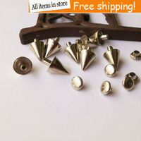 Free shipping 100pcs 9mm alloy rivet pointed toe rivet diy shoes leather clothing silver