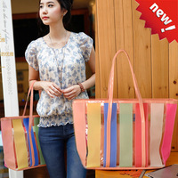 2013 candy color women's beach handbag transparent picture package shoulder bag handbag big bags jelly bag