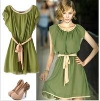 Dress chiffon ruffle sleeve one-piece dress