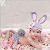 Latest Baby Rabbit Design Crochet Hats and Pants Set Children Kids Photographer Prop Animal Hats Knitted Winter Hat 1set MZS-024