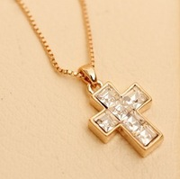 Wholesale 18K Gold Plated Crystal Cross Necklace,Fashion Crystal Necklace,Fashion Jewelry MG0010