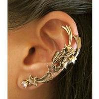 Free shipping 2 Colors Women Punk Crystal Stars Shape Stud Ear Cuffs/Earring Wholesale 24pcs/lot