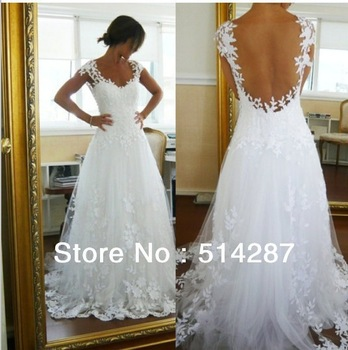 2013 New Fashion Modest Sweetheart Bodice White Appliqued Soft Tulle Sexy Wedding Dress Real photo Custom Made Free shipping