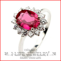 Fashion Jewelry 925 Sterling Silver Womens Synthetic Gift Images Of Wedding Rings with Ruby Gems
