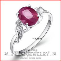 Fashion Jewelry 925 Sterling Silver Womens Natural Colored Minimalist Personality Wedding Ring Bands For Women with Ruby Gems