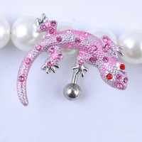 Free shipping Body Piercing Lizard Crystal Style Navel Belly Button Barbell Ring 1pc