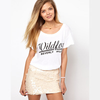2014 fashion beverley hills big o-neck loose short-sleeve T-shirt tops free shipping