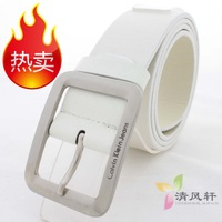 Japanese word buckle lovers strap male PU belt Women candy color pin buckle classic belt white