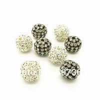 20mm 20pcsWholesale Copper Gunmetal/Silver Plated Pave Rhinestone Crystal Ball Jewelry Beads Pendant for Bracelet&Necklace HB836