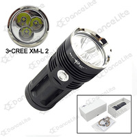 New Arrival~~6000LM Black SKY RAY King 3x CREE XM-L2 3xCREE L2 3M High Power LED Flashlight Torch (4x18650)