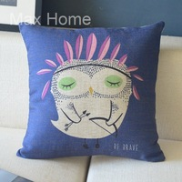 "Free Shipping 18"" Night Owl with Bow and Arrows Retro Vintage Style Linen Decorative Pillow Case Pillow Cover Cushion Cover"
