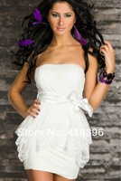 CL17853 Cheap Price 4 Colors Fashion Strapless Short Dress Lace Detail Double Layer White Tunic Dress