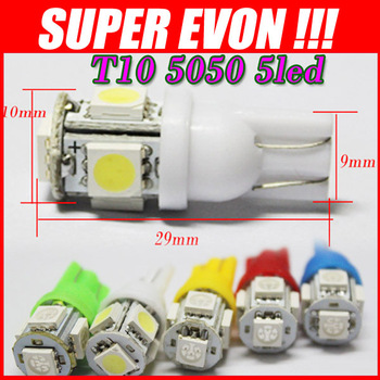 500x led car t10 5050 194 168 501 W5W Wedge 5 SMD Car Led Light Clearance door light White green blue red yellow pink 12V CL0004