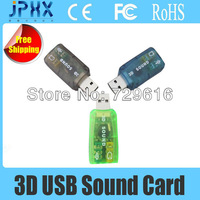 Free shipping------Wholesale Factory Price 5.1 Channels High Speed USB Sound Card