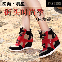 High quality fashion women fashion wedge heel invisible elevator shoes decorative metal