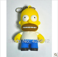 Wholesale Fashion Cute Cartoon Simpsons Homer 2GB 4GB 8GB 16GB 32GB 64GB USB Flash 2.0 Memory Drive Stick Pen/Thumb/Car free