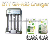Hi-speed Quick AA AAA Rechargeable Battery BTY Charger N95 +4x AA 3000mAh+4x AAA 1350mAh 1.2V NI-MH Rechargeable Battery BTY