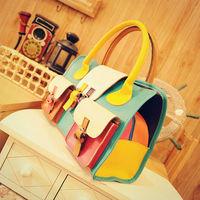 Free shipping fashion elegant  patchwork multi-color women shoulder bag PU leather handbag for girls & ladies  bolso bolsa SACS