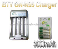 Hi-speed Quick AA AAA Rechargeable Battery BTY Charger N95 +4x AA 3000mAh 1.2V NI-MH Rechargeable Battery BTY