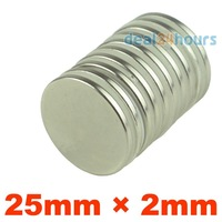 50pcs/lot N35 25mm x 2mm Super Strong Round Rare Earth Neodymium Magnet Magnets Free Shipping
