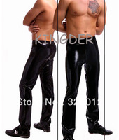Black latex trousers rubber leggings for strong men wear