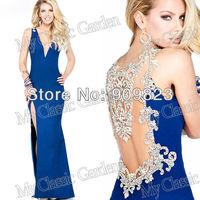 2014 Elegant Deep V Neck Beautiful Back Beaded Crystal High Slit Side Matte Satin Formal Evening Gowns Dresses 92205