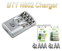 Smart AA AAA Rechargeable Battery BTY N-802 EU/US Charger+4x AA 1.2V 3000mah+4x AAA 1.2V 1350mah rechargeable Ni-MH battery